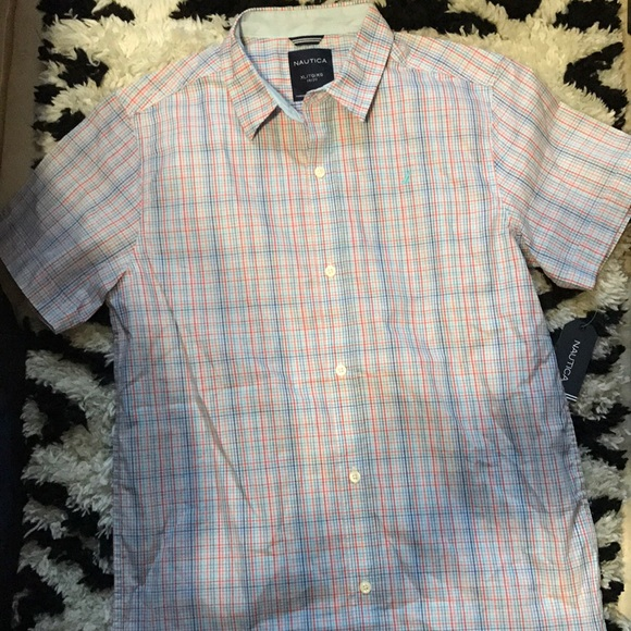 Nautica Boys Short Sleeve Patterned Button Up Shirt Button Down Shirt